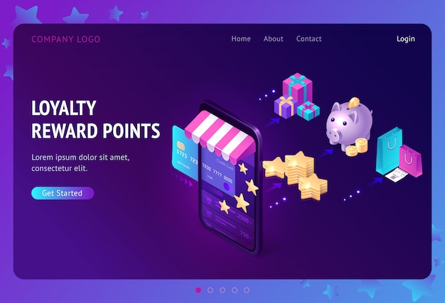 Loyalty program with bonus points landing page Free Vector