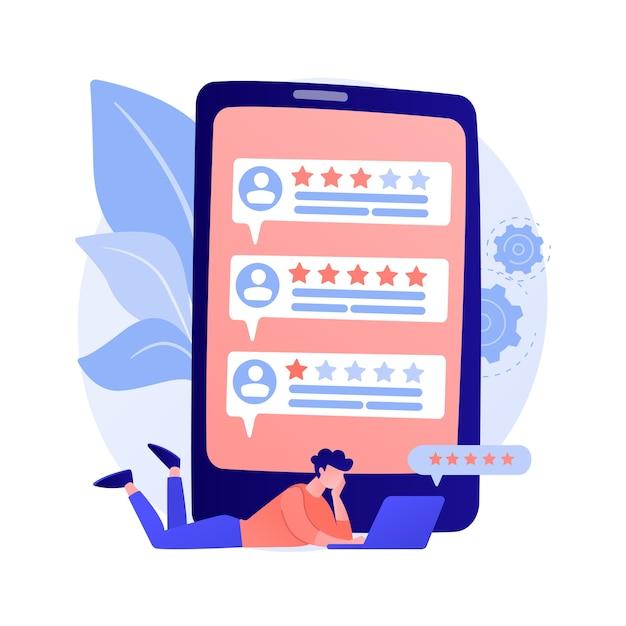 충성도 별. 고객 및 사용자 리뷰. 웹 사이트 순위 시스템, 긍정적 인 피드백, 투표를 평가합니다. 순위가 매겨진 개인 프로필이있는 웹 페이지입니다. 무료 벡터