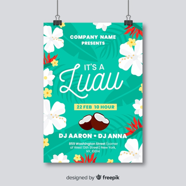 Luau party banner Free Vector