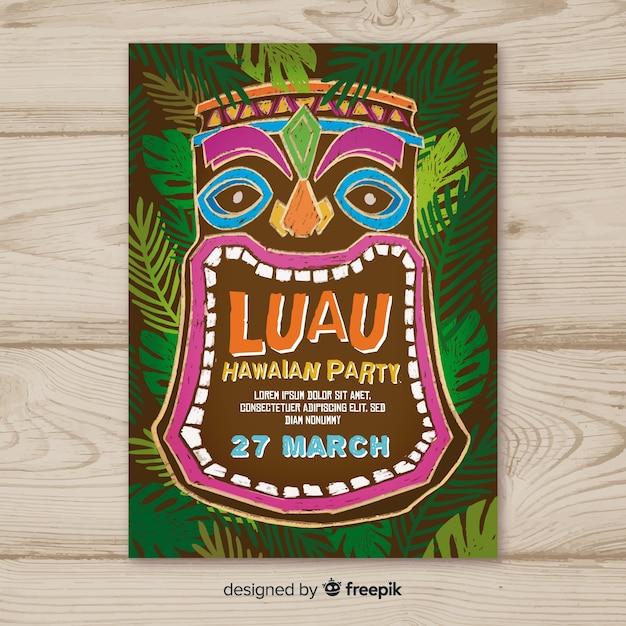 luau party blackboard tiki mask poster template vector free download