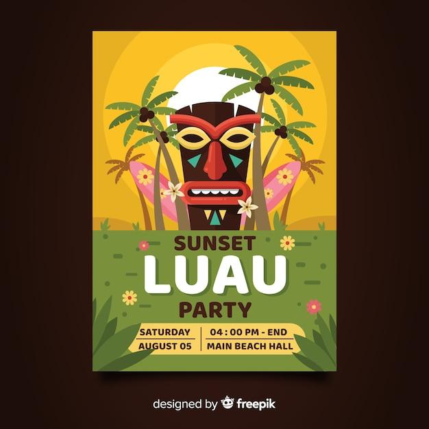 Luau party flyer Free Vector