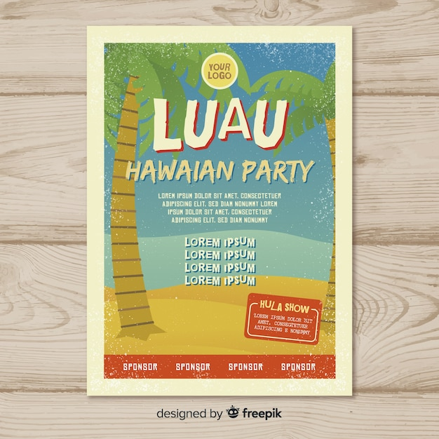 luau party grunge palms poster template vector free download