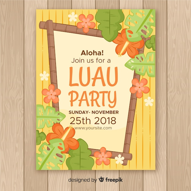 Luau party wooden frame poster template Free Vector