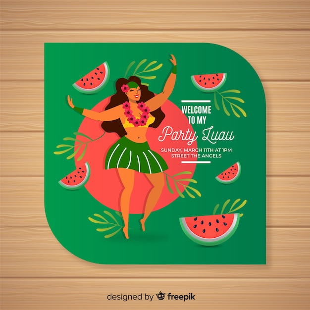 luau watermelon invitation template vector free download