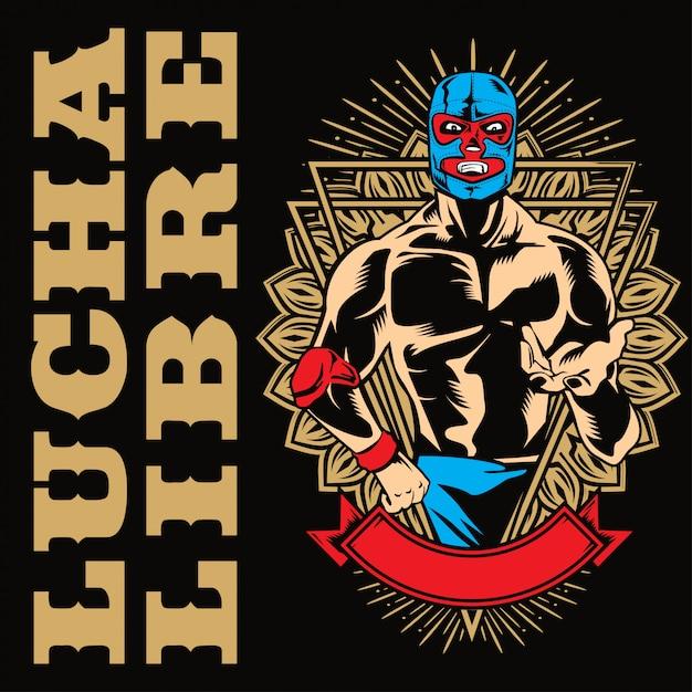 Lucha libre fighterポスター Premiumベクター