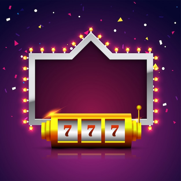 Lucky 777 slot on machine with marquee sparkling purple background. Premium Vector
