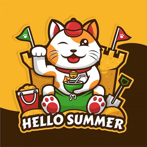 夏の季節のデザインを祝う幸運な猫 Premiumベクター