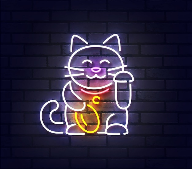 Premium Vector Lucky Cat Neon Sign Bright Signboard Japanese Lucky Cat