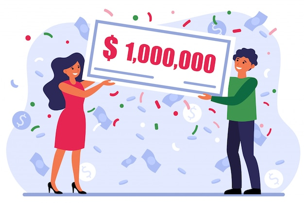 Lucky couple winning grant Free Vector