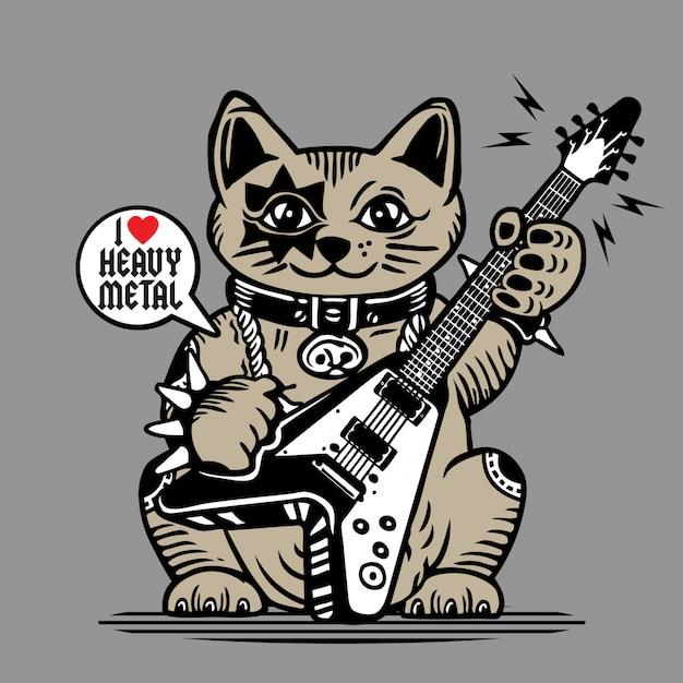 Lucky fortune cat heavy metal guitar player Premium Vector