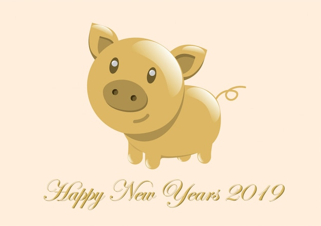 Lucky golden pig happy new year 2019 vector premium download - Lucky color for new year 2019 ...