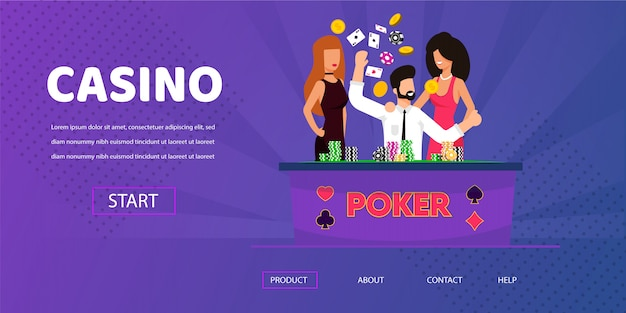 Lucky man win money happy woman near casino table Premium Vector