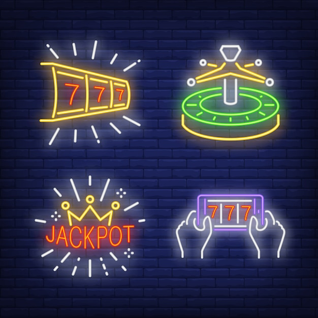 Lucky seven, roulette and jackpot neon signs set Free Vector