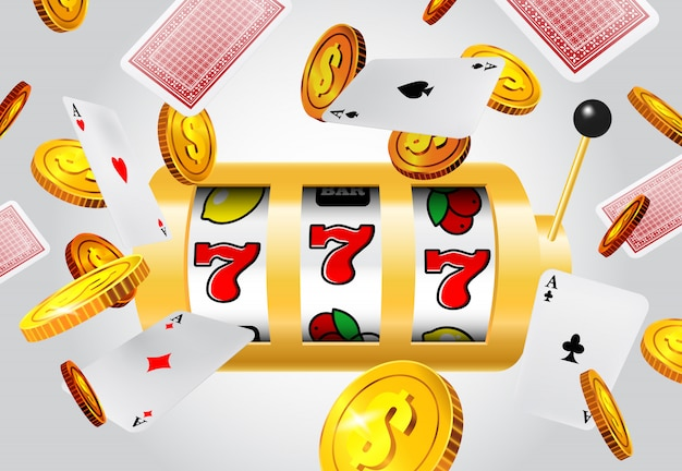 Lucky seven slot machine, flying aces and golden coins on grey background. Free Vector