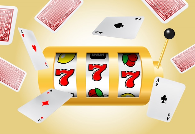 Lucky seven slot machine and flying aces on yellow background. Free Vector