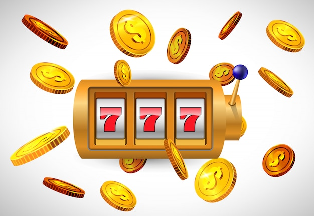 Lucky seven slot machine and flying golden coins. casino business advertising Free Vector