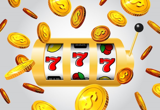 Lucky seven slot machine and flying golden coins on grey background. Free Vector