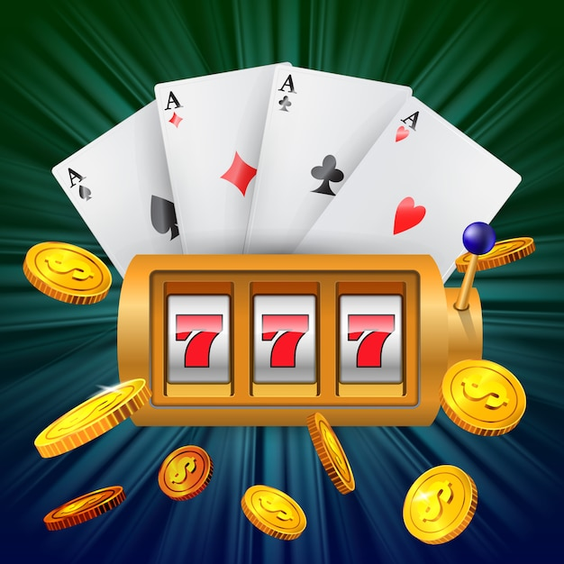 Lucky seven slot machine, four aces and flying golden coins. Free Vector