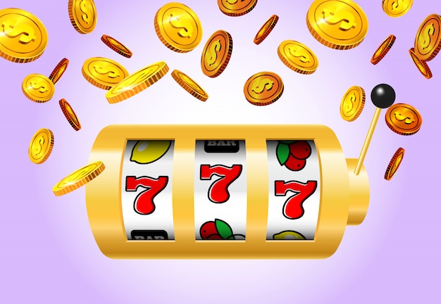 Lucky seven slot machine and golden coins on purple background. Free Vector