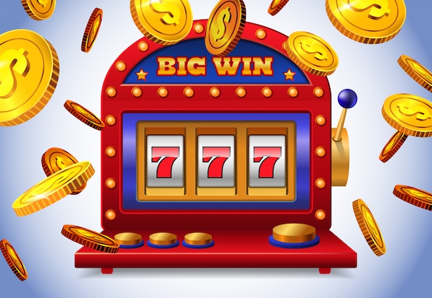 Lucky seven slot machine with big win lettering and flying golden coins. Free Vector