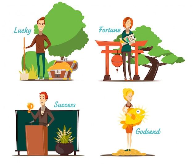 Le composizioni di situazioni fortunate hanno messo di quattro immagini isolate con carattere umano piano e l'illustrazione appropriata di vettore di paesaggio all'aperto Vettore gratuito