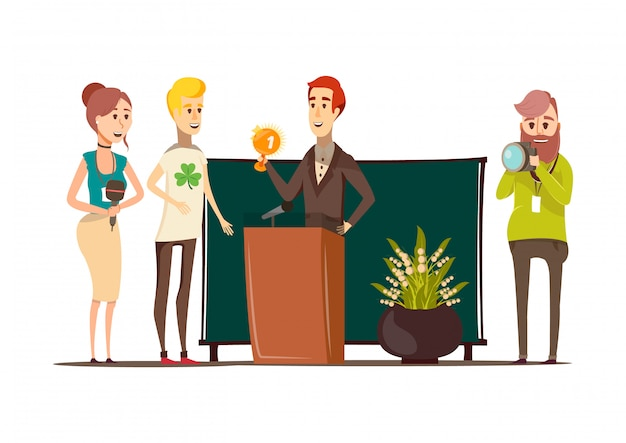 Lucky situations flat composition with prizewinner behind the podium photographer reporter and journalist doodle style characters vector illustration Free Vector