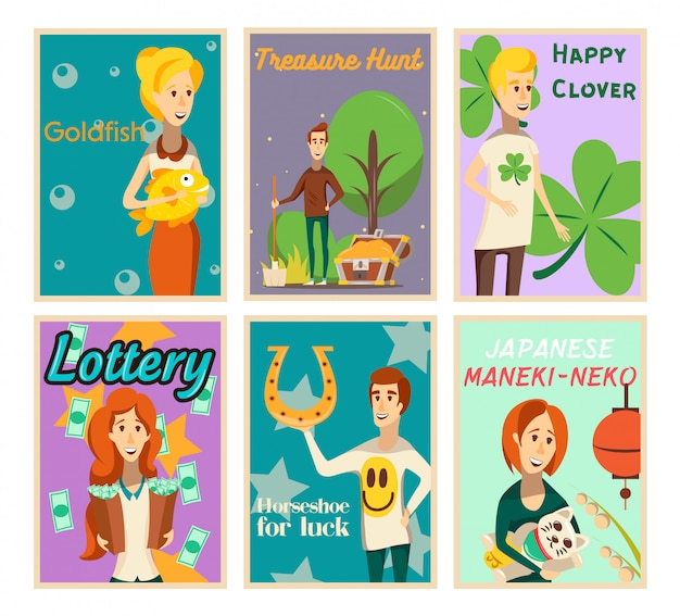 Lucky situations posters collection of flat image compositions with happy human characters and text vector illustration Free Vector