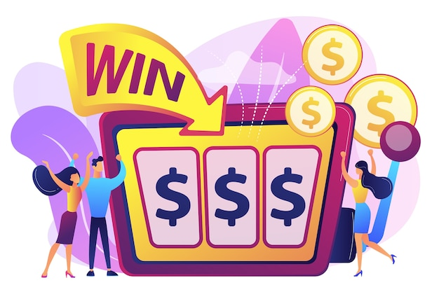 Lucky tiny people gambling and winning money at slot machine with dollar sign. slot machine, money game winner, jackpot win concept. Free Vector