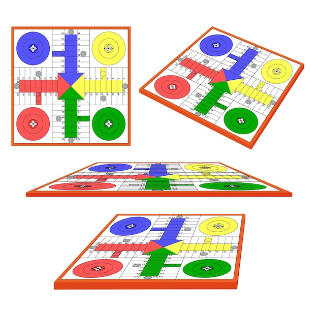 Ludo board game in different perspectives Free Vector