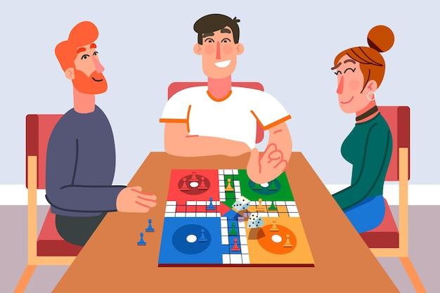 Serata di gioco ludo con gli amici Vettore gratuito