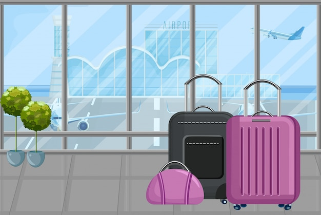 Luggage at the airport Premium Vector