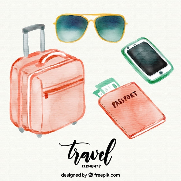 Luggage and other watercolor travel accessories