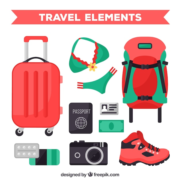 Luggage set with other accessories in flat design