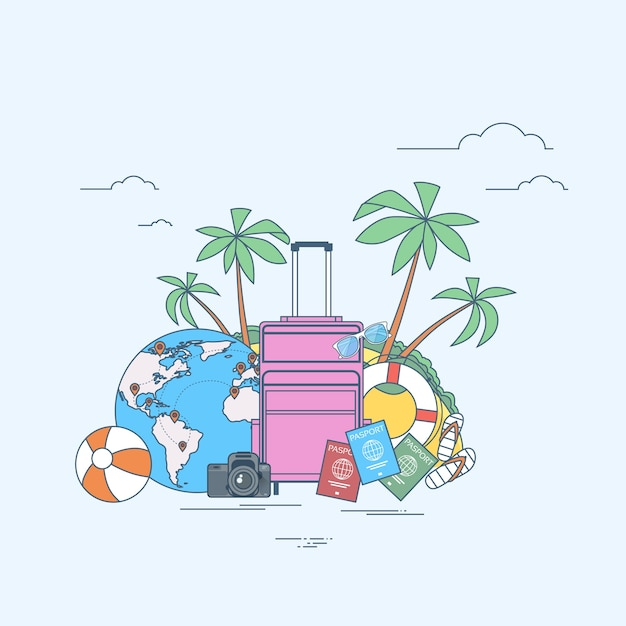 Luggage summer location trip tropical island with palm tree Premium Vector