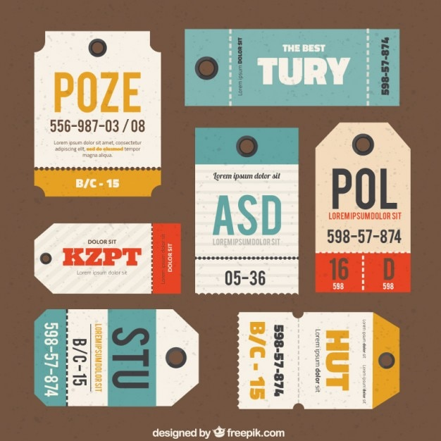 Luggage tags collection vector free download for Airline luggage tag template