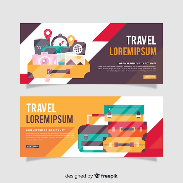 Luggage travel banner flat design Free Vector