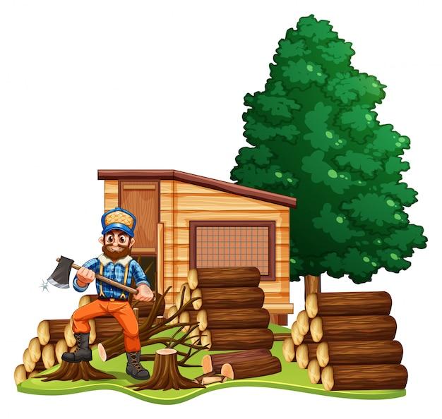 Lumber jack chops woods Free Vector