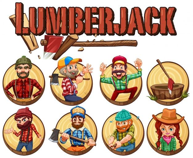 Lumber jack set on round badges Premium Vector