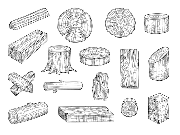 Lumber. wooden trunks branch oak stacked log from tree hand drawn set. Premium Vector