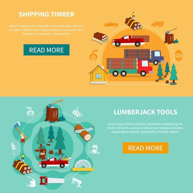 Lumberjack banner set Premium Vector