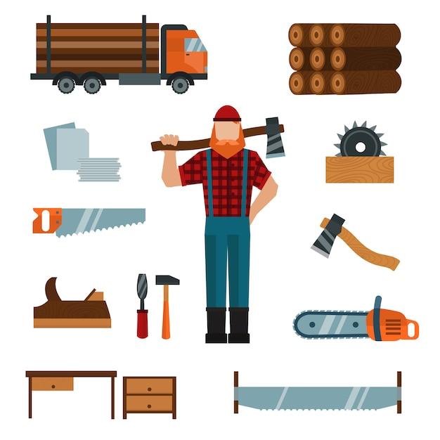 Lumberjack cartoon character with lumberjack tools elements vector illustration Premium Vector