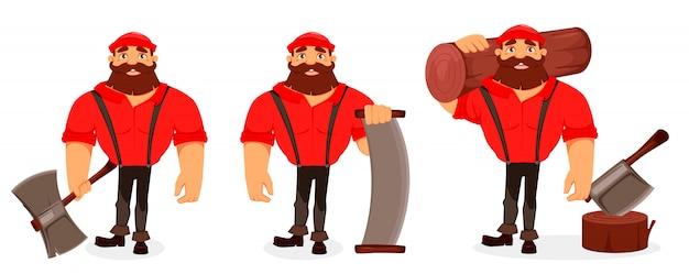 Lumberjack cartoon character Premium Vector