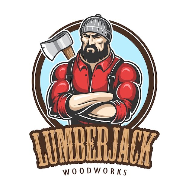 Of lumberjack emblem, label, badge, logo with text. isolated on white background. Free Vector