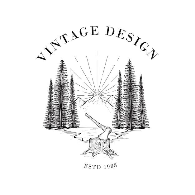 Lumberjack and forest illustration Premium Vector