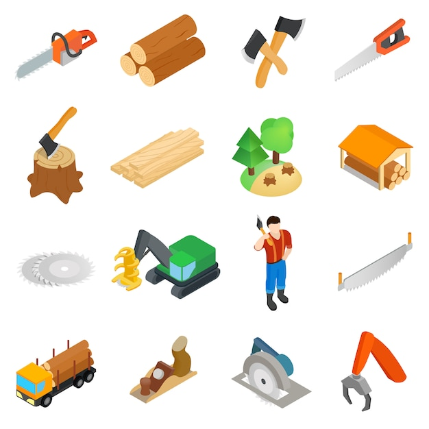 Lumberjack icons set Premium Vector