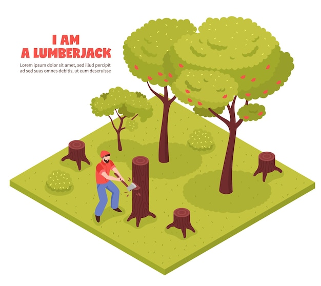 Lumberjack isometric composition with woodcutter chopping trees in forest with hand axe Free Vector