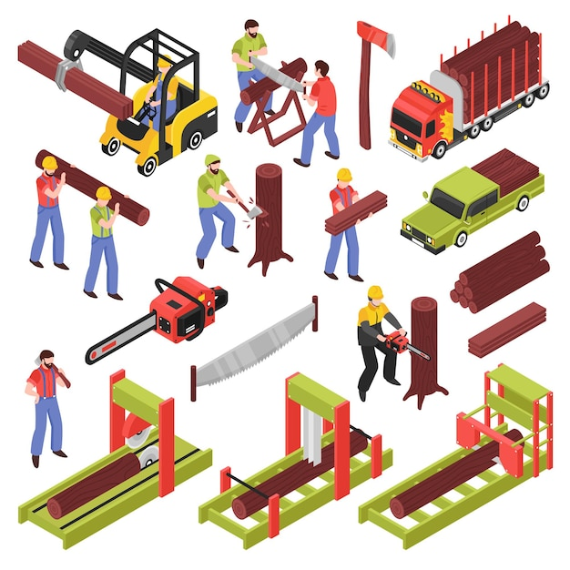 Lumberjack isometric icons set of workers sawing trees and logs with hand saw and  saw frame equipment isolated Free Vector