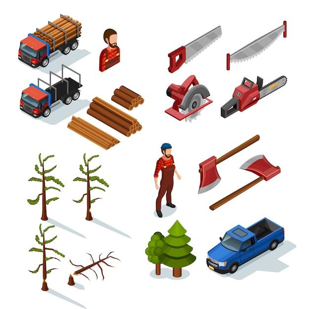 Lumberjack isometric icons set Free Vector