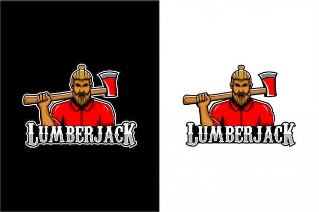 Lumberjack logo Premium Vector