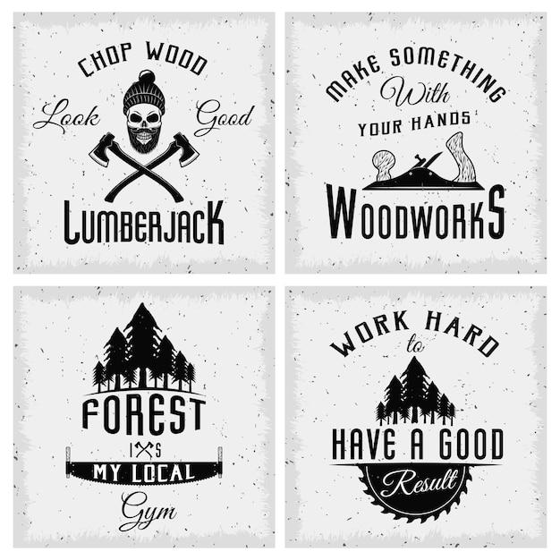 木こりのモノクロのロゴと引用作業ツールとトウヒの森 Premiumベクター